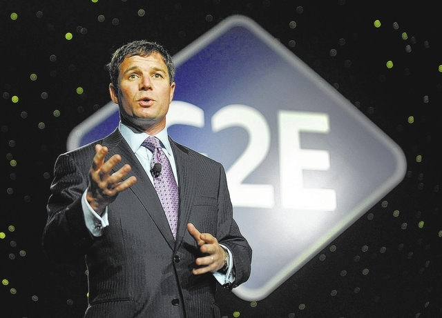 Geoff Freeman, president and CEO of the American Gaming Association, speaks before the keynote address during G2E at the the Sands Expo and Convention Center on Wednesday, Sept. 25, 2013. (David B ...