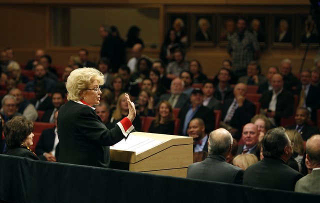 Las Vegas Mayor Carolyn Goodman gives a state of the city speech at Las Vegas City Hall on Jan. 9. (John Locher/Las Vegas Review-Journal)