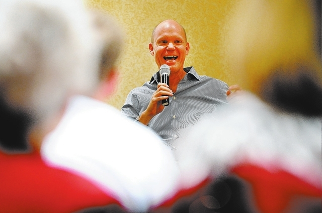Tom Skancke, president and CEO of Las Vegas Global Economic Alliance, speaks during the panel discussion Monday on transportation during the LVRJ's Hashtags and Headlines luncheon at the Texas S ...