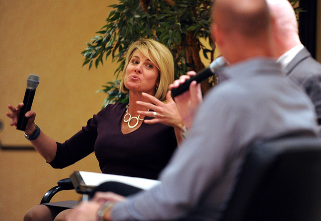 Tina Quigley, left, general manager of the Regional Transportation Commission speaks during the panel discussion on transportation during the LVRJ's Hashtags and Headlines luncheon at the Texas St ...