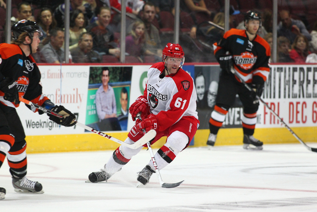 Las Vegas Wranglers' Geoff Irwin looks to head toward the puck while playing against the Fort Wayne Komets at the Orleans Arena in Las Vegas on Saturday, Nov. 2, 2013. (Chase Stevens/Las Vegas Rev ...