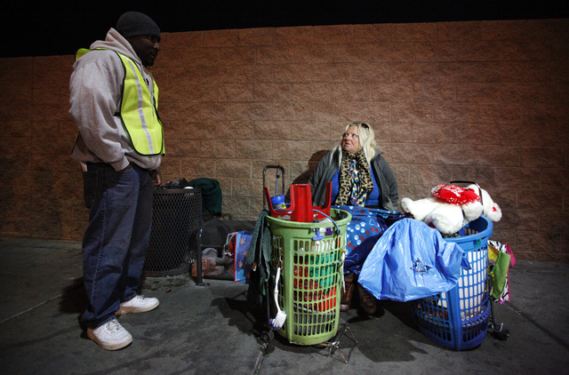 Las Vegas city councilman Ricky Barlow, left, speaks with Theresa Kennedy, 59, during the Southern Nevada Homeless Census urban count in Las Vegas on Wednesday. (Justin Yurkanin/Las Vegas Review-J ...