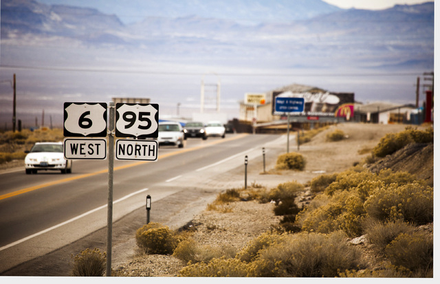 U.S. 95 traffic enters Tonopah, Nev.  on Tuesday, Dec. 17, 2013. Transportation officials are proposing Interstate 11 to connect Las Vegas and Reno.(Jeff Scheid/Las Vegas Review-Journal)