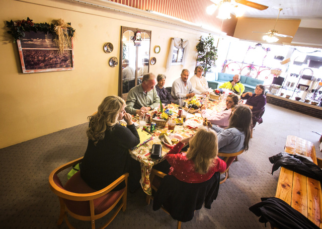 Rotary Club of Tonopah gather for lunch at Kozy Corner Deli& Coffee Bar at 101 Main Street in Tonopah, Nev. on Tuesday, Dec. 17, 2013. Transportation officials are proposing Interstate 11 to conne ...
