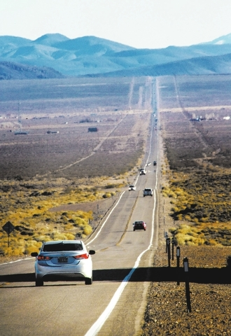 Traffic on U.S. 95  between Goldfield and Beatty as seen on Friday, Dec. 20, 2013. Transportation officials are proposing Interstate 11 to connect Las Vegas and Reno.(Jeff Scheid/Las Vegas Review- ...