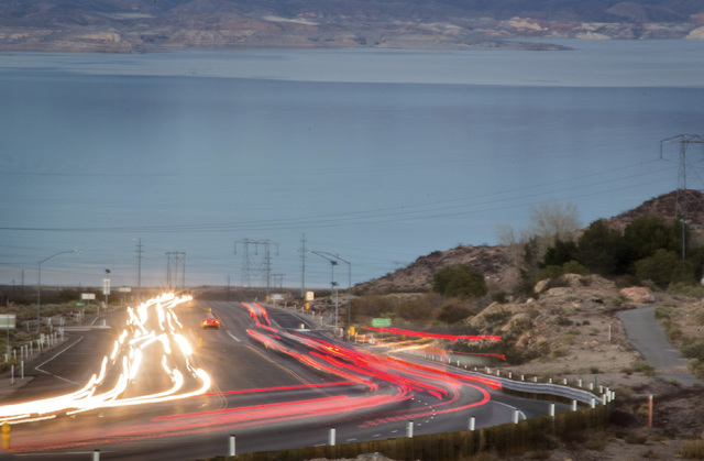 Traffic along Highway U.S. 93 east of Boulder City as seen on Friday, Dec. 27, 2013.  The proposed Boulder City Bypass will help reduce traffic problems through Boulder City.(Jeff Scheid/Las Vegas ...