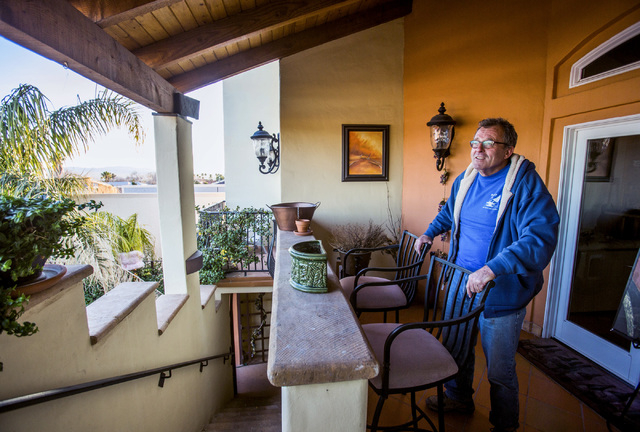 Milo Hurst, owner of  Milo's Cellar & Inn at 538 Nevada Hotel, stands outside his condo which overlooks the inn  on Friday, Dec. 27, 2013 in Boulder City. Hurst believes the Boulder City Bypass co ...