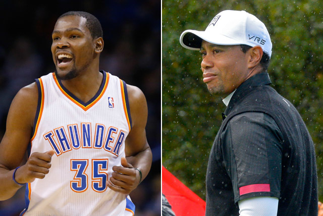 Even Kevin Durant and Tiger Woods are on the board when it comes to Super Bowl prop bets. (Associated Press)