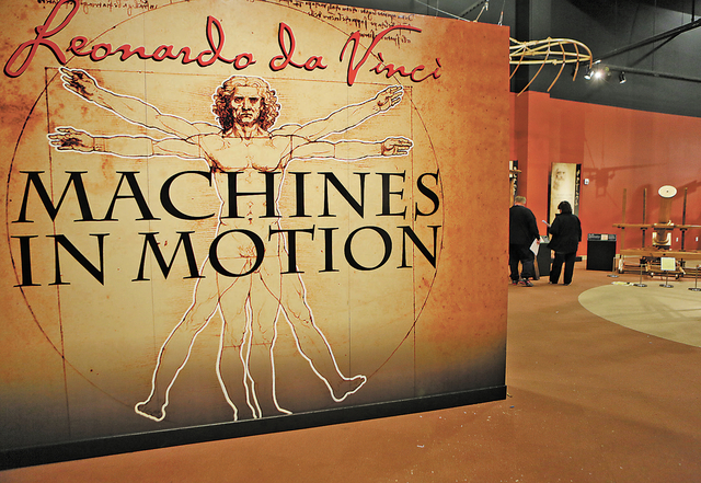 """The """"Leonardo Da Vinci: Machines in Motion"""" exhibit entrance is shown at Springs Preserve Thursday, Jan. 23, 2014, in Las Vegas. The exhibit, which is located in the Origen Museum at Spr ..."""