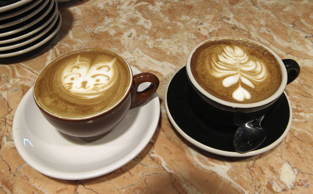 Latte art by barista Lawrence Chung is displayed at the Leone Cafe in Tivoli Village. Chung has been creating latte art since 2003 and said he learned the art in Hong Kong, where it was introduced ...