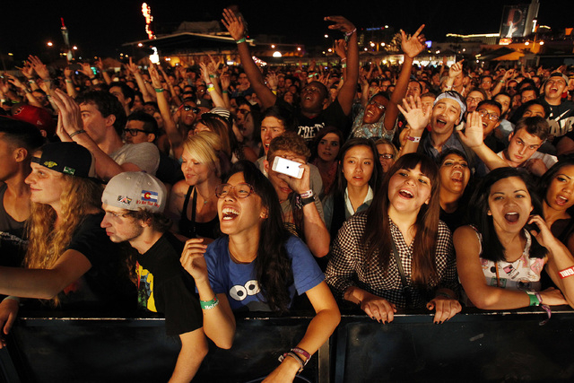 Fans watch Childish Gambino perform during the Life is Beautiful festival in Las Vegas Saturday, Oct. 26, 2013. (John Locher/Las Vegas Review-Journal)