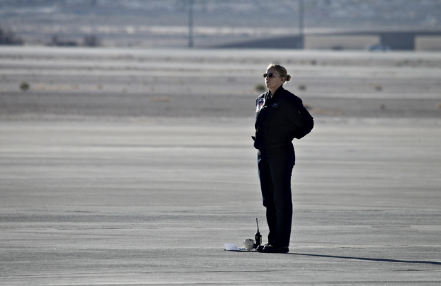 Tech Sgt. Amanda Geray watches as the Thunderbirds start up their engines at Nellis Air Force Base in Las Vegas Jan. 10, 2014. Geray is the first female line chief in the history of the Thunderbir ...