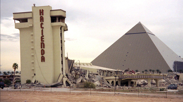 A portion of the Hacienda Hotel still stands after the rest of the structure fell during the New Year's Eve implosion festivities on the Las Vegas Strip on Jan. 1, 1997. The remaining structure  ...