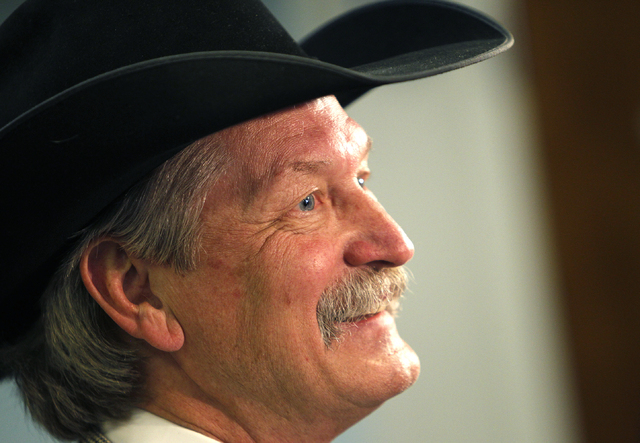 PRCA Chairman Karl Stressman speaks with the media after the LVCVA approved a deal to keep the National Finals Rodeo in Las Vegas during a meeting the Las Vegas Convention Center in Las Vegas Thur ...