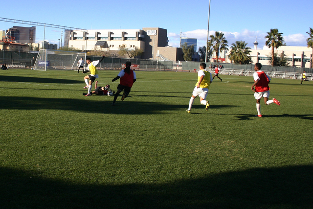 Players tryout for the Las Vegas Mobsters soccer team at Peter Johann Memorial Field at UNLV in Las Vegas Saturday, Dec. 21. (Josh Mondle/Special to View)