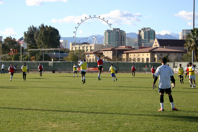 Players try out for the Las Vegas Mobsters soccer team at Peter Johann Memorial Soccer Field at UNLV in Las Vegas Saturday, Dec. 21. (Josh Mondle/Special to View)