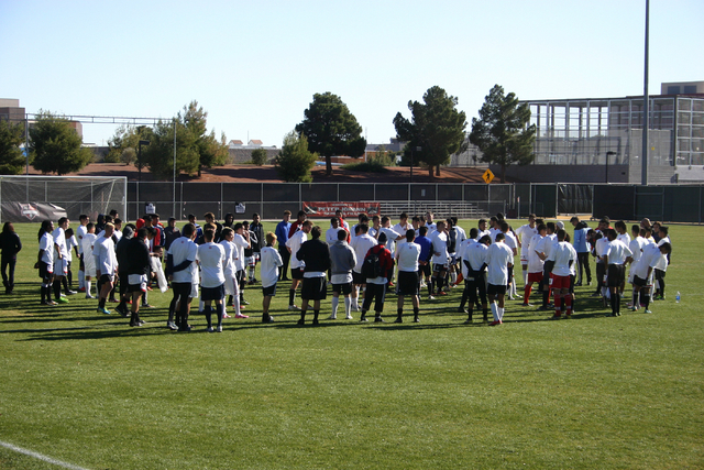 Players tryout for the Las Vegas Mobsters soccer team at Peter Johann Memorial Field at UNLV in Las Vegas Friday, Dec. 20. (Josh Mondle/Special to View)