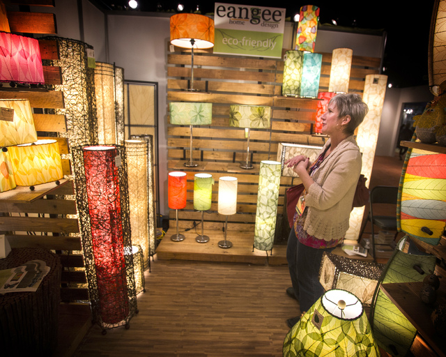Judy Hamilton views the Eangee Home Design showroom during Winter Las Vegas Market at 495 S. Grand Central Parkway on Sunday, Jan. 26, 2014. The event features 1.1 million square feet of new and e ...