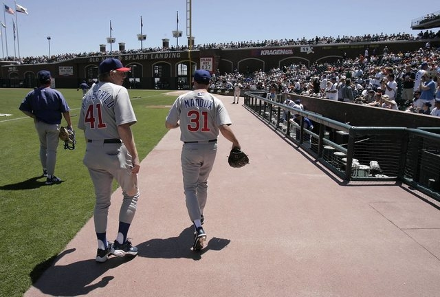 SPORTS--Greg Maddux, 31, of the Chicago Cubs walks onto the field for a game against the San Francisco Giants Saturday, Aug. 7, 2004 in San Francisco. photo by John Locher