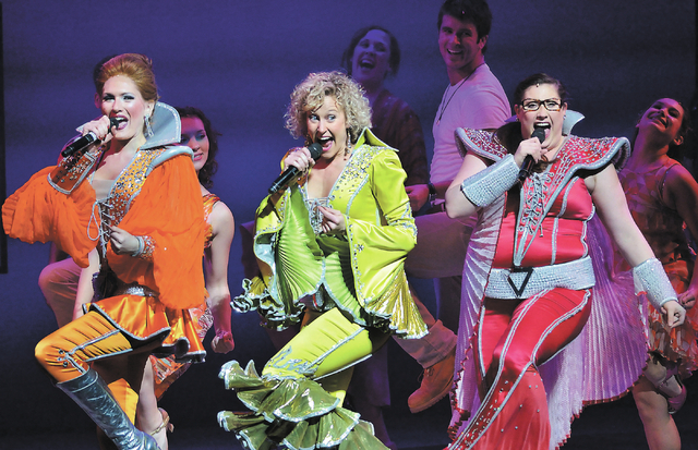 """Cast members perform in """"Mamma Mia!"""" at Reynolds Hall in the Smith Center on Tuesday, Jan. 7, 2014. (Bill Hughes/Las Vegas Review-Journal)"""