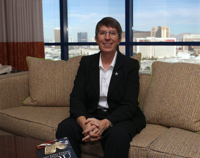 Retired U.S. Army Brig. Gen. Becky Halstead, the nation's first female commanding general in combat, poses for a photo at the Rio hotel-casino in Las Vegas, Friday, Jan. 10, 2014. (Jerry Henkel/La ...