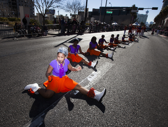Eryan Dacus  with the Condor's Drill Team from Omaha, Neb., performs during the Martin Luther King Jr. Day Parade on 4th Street in downtown Las Vegas, Monday, Jan. 20, 2014.  The 32nd annual parad ...