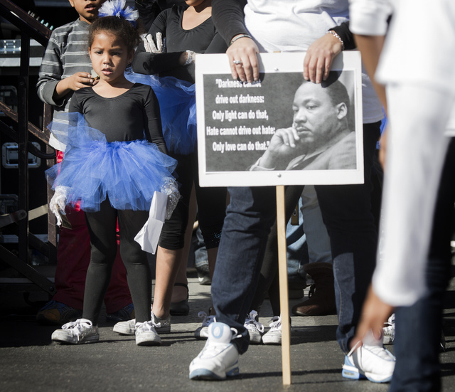 Jazmine Noble, left, with Blue Jays dance troupe during the Martin Luther King Jr. Day Parade on 4th Street in downtown Las Vegas, Monday, Jan. 20, 2014. The 32nd annual parade lasted 4 hours. (Je ...