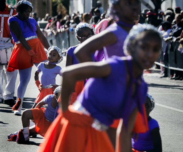 Mimi Union with the Condor's Drill Team from Omaha, Neb., performs during the Martin Luther King Jr. Day Parade on 4th Street in downtown Las Vegas, Monday, Jan. 20, 2014. The 32nd annual parade l ...
