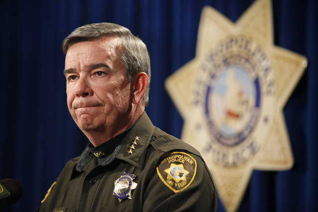 Sheriff Doug Gillespie holds a press conference at the Las Vegas Police headquarters in Las Vegas Tuesday, Jan. 21, 2014. (John Locher/Las Vegas Review-Journal)