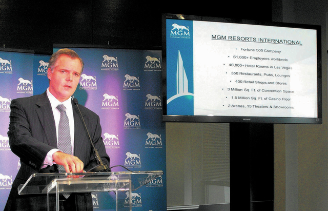 JIm Murren. chairman and chief executive officer of MGM Resorts International,  talks about the company at a press conference to unveil the design of a hotel/casino resort the company is proposing ...