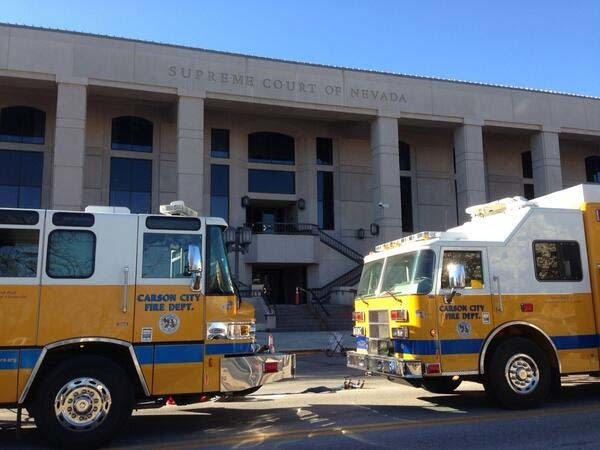 Emergency crews are on the scene at the Nevada Supreme Court building in Carson City after a powdery substance was found in an envelope on Thursday. (Courtesy, Sandra Chereb/AP/Twitter)