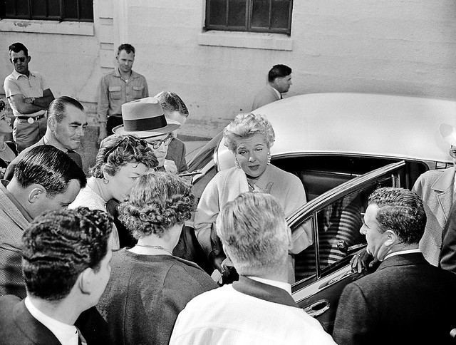 """Barbara """"Bobo"""" Sears Rockefeller meets with the press as she arrives in Reno, Nev., on June 19, 1954, for a 6-million divorce settlement from her millionaire husband, Winthrop Rockefelle ..."""