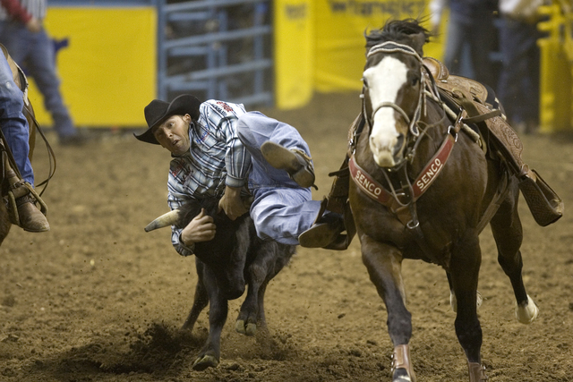 K.C. Jones of Decatur, Texas, competes in steer wrestling during the sixth go-around of the National Finals Rodeo at the Thomas & Mack Center Tuesday, Dec. 5, 2006. (K.M. Cannon/Las Vegas Review-J ...