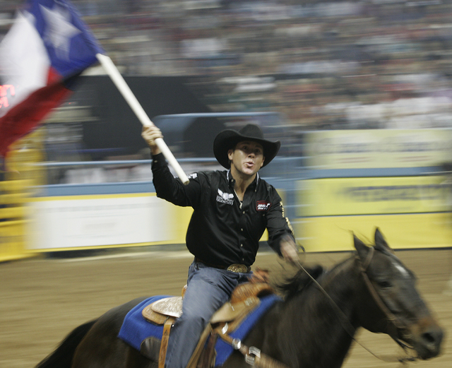 Legendary cowboy Trevor Brazile enters the arena for the first go around during the National Finals Rodeo at the Thomas and Mack Center in Las Vegas on Dec. 2, 2010. (JASON BEAN/LAS VEGAS REVIEW-J ...