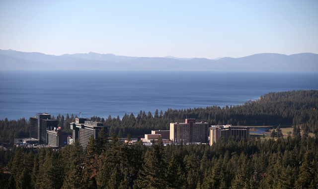 The small casino corridor of Stateline, Nev., sits nestled against Lake Tahoe, seen from the Van Sickle Trail on Tuesday, Oct. 15, 2013. (Cathleen Allison/Las Vegas Review-Journal)