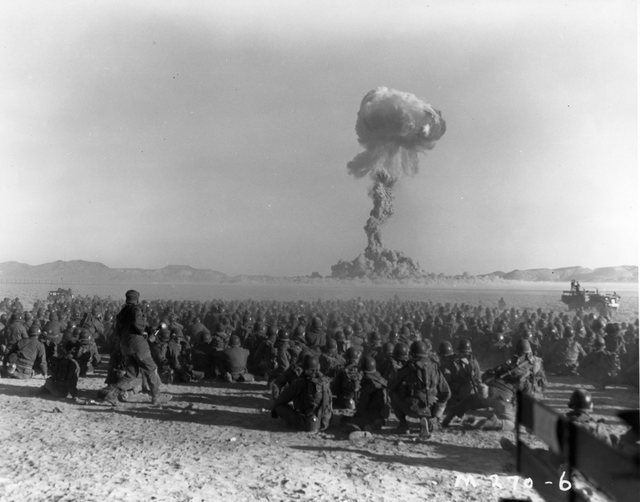 This early photo shows an atomic bomb test at what was then called the Nevada Proving Grounds, later the Nevada Test Site. The first atomic test in the United States, after New Mexico's Trinity ex ...