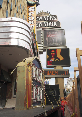 One of the iconic New York, New York hotel-casino marquees is readied for shipment to the Neon Museum, Tuesday, Jan. 7, 2014. An entirely new facade to the hotel is planned. (Jerry Henkel/Las Vega ...