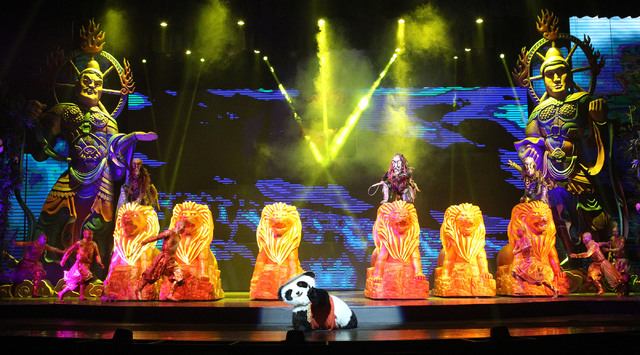 "In its better moments, ""Panda!"" at the Palazzo, brings out the kid in us. Human performers blend into the eye-popping graphics with almost perfect perspective, as they cross bridges or perch u ..."