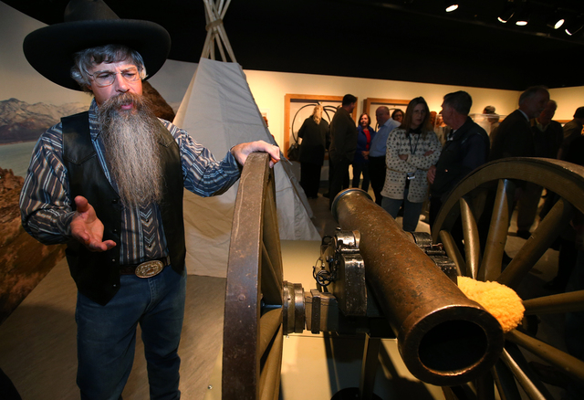 "Tony Argento talks about the Fremont Cannon at the ""Finding Fremont: Pathfinder of the West"" exhibit at the Nevada State Museum, in Carson City, Nev., on Wednesday, Jan. 29, 2014. (Las V ..."
