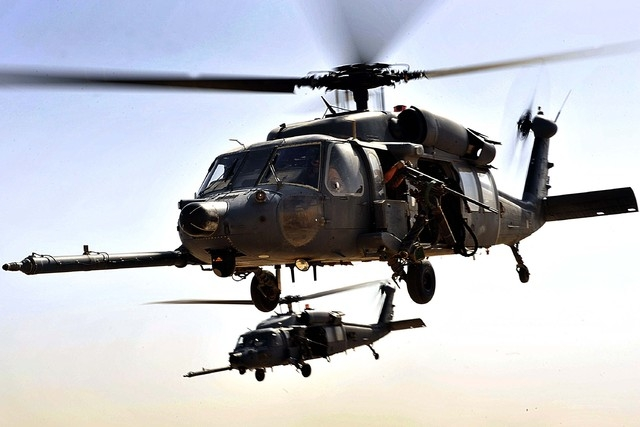 HH-60G Pave Hawks from the 66th Expeditionary Rescue Squadron fly over an area in Iraq during an operational training exercise Sept. 19. (U.S. Air Force photo/Staff Sgt. Aaron Allmon)