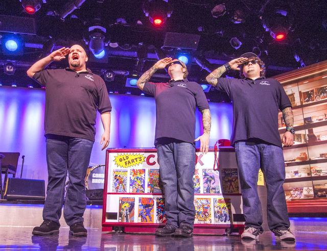 """Sean Critchfield (Slick Garrison), left, Gus Langley (Lil' Boss) and Garret Grant (Chump) perform in """"Pawn Shop Live!"""" at the Golden Nugget showroom. The comedy show spoofs the popular TV series """" ..."""