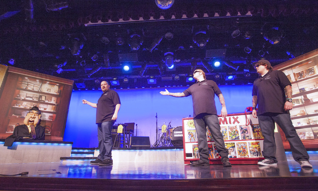 """Sean Critchfield (Slick Garrison), left, Gus Langley (Lil' Boss) and Garret Grant (Chump) star in """"Pawn Shop Live!"""" at the Golden Nugget showroom. The comedy show spoofs the popular TV series """"Paw ..."""
