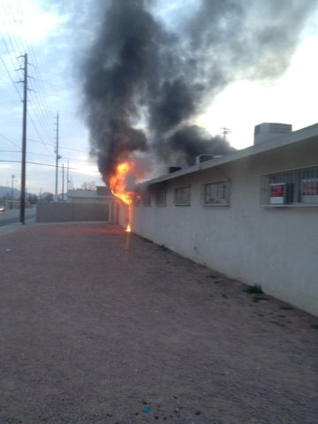 A fire burns at a single-story apartment early Thursday morning near the intersection of East Carey Avenue and North Daley Street in North Las Vegas. (Courtesy, North Las Vegas Fire Department)