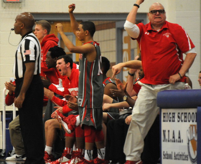 Arbor View's bench reacts during a play against Sierra Vista during an away game at Sierra Vista High School in Las Vegas Friday, Jan. 24, 2014. Arbor View won the game 101-94 in double overtime.  ...