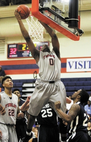 Findlay Prep's Horace Spencer (0) grabs a rebound while taking on Impact Academy at Bishop Gorman in Las Vegas on Saturday, Jan. 11, 2014. (Jason Bean/Las Vegas Review-Journal)
