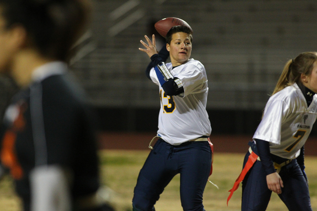 Foothill quarterback Sam Fennell prepares to pass Wednesday in the Falcons' 39-12 victory ...