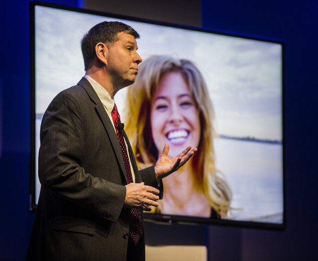 Jim Sanduski, vice president of strategic product marketing, unveils of the latest lines Sharp Aquos TV during CES International Press Day at Mandalay Bay Convention Center on Monday. The annual e ...
