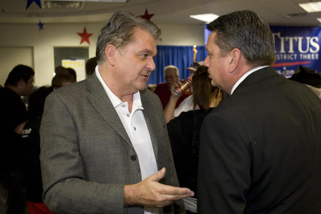 K.M. CANNON/REVIEW-JOURNAL Nevada Regent Steve Sisolak, who is running for Clark County Commission, left, talks with Randy Soltero, political director of the Sheet Metal Workers Union, during a pr ...