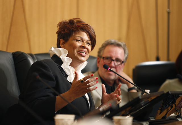 Jerusha McDonald Hilton talks about the race riots at Rancho High School during a panel discussion at the Clark County Commission Chambers in Las Vegas Friday, Jan. 24, 2014. (John Locher/Las Vega ...