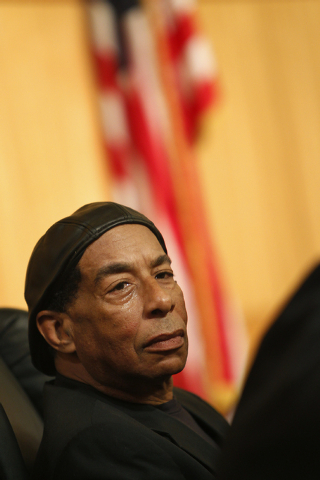 Stan Armstrong talks about the race riots at Rancho High School during a panel discussion at the Clark County Commission Chambers in Las Vegas Friday, Jan. 24, 2014. (John Locher/Las Vegas Review- ...